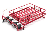 Austar 1/10 Scale Roof Luggage Rack Red with LED Light Bar 167x112mm (нажмите для увеличения)