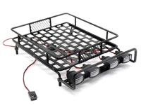 Austar 1/10 Scale Roof Luggage Rack Black with LED Light Bar 167x112mm (нажмите для увеличения)