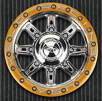 HD Cheyenne Narrow 2.75 Bead-Loc 3.8 40 Series Chrome/Gold Zero Offset Hex 23mm Wheels 2pcs