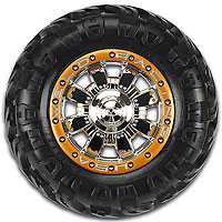 HD Commando Bead-Loc 3.8 40 Series Chrome/Gold Zero Offset Hex 23mm Wheels 2pcs