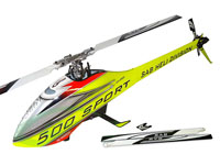 SAB Goblin 500 Sport Flybarless Electric Helicopter Yellow/Red Kit with 2 Sets of Blades